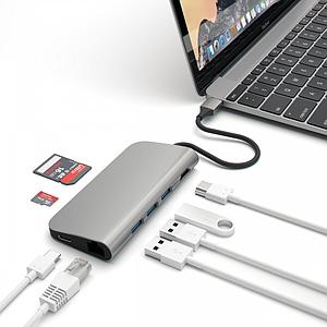 Adaptateur USB-C Satechi aluminum multi-port adapter 4K -> HDMI, 3 USB, 1 USB-C, SD, Micro SD, ETHERNET Space Gray gris sidéral SATEA006F